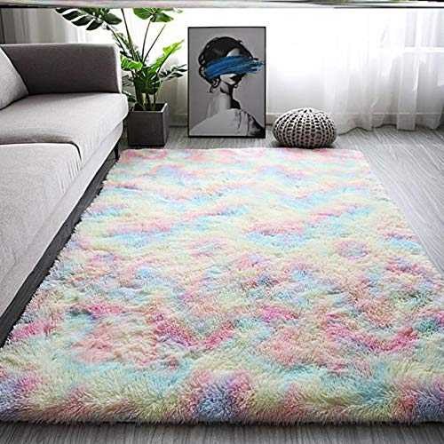 HINMAY Luxury Fluffy Girls Rug, Colorful Fluffy Rainbow Rugs Area Rug for Girls Bedroom, Nursery, Play Room, Fuzzy Carpet for Living Room, Home Decor - 120x80cm