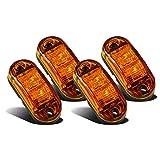 Partsam 4 Pcs 2.5inch Oval Amber Lens 2 Diode LED Trailer Truck Clearance Side Marker Light
