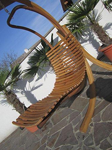 ASS DESIGN Hängeliege NAVASSA-SEAT aus Holz Lärche/Metall mit Auflage (OHNE Gestell) von Farbe:Braun - 5