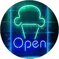 Open Ice Cream Shop Store Home Décor Dual Color LED看板 ネオンプレート サイン 標識 緑色 + 青色 210 x 300mm st6s23-i2185-gb