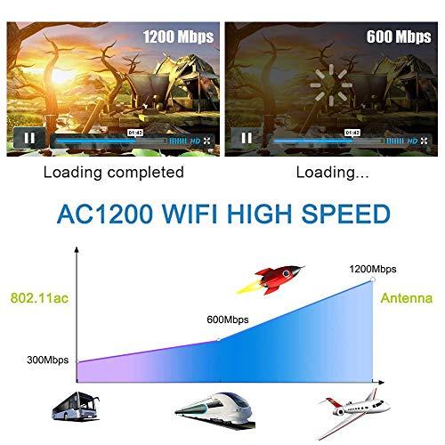 WiFi Adaptador - Maxesla 1200Mbps WiFi USB 3.0 Dongle Receptor Inalámbrico Antena 5dBi 2.4G/5GHz Dual Band Antena para PC Desktop Laptop, Windows7/8/10/2000/Vista/XP, Mac OSX 10.6-10.14, Ubuntu Linux