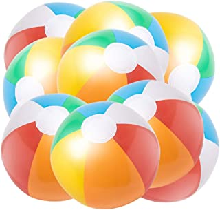 JOCHA Inflatable Beach Ball Classic Rainbow Color Birthday Pool Party Favors Summer Water Toy Fun Play Beachball Game for Kid Boys Girls 8 to 12 Inches from Inflated to Deflated (10 PCS)