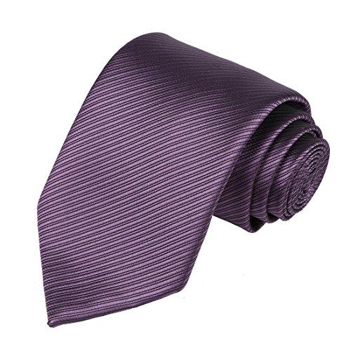 KissTies Plum Tie Set Purple Necktie Solid Striped Ties + Pocket Square