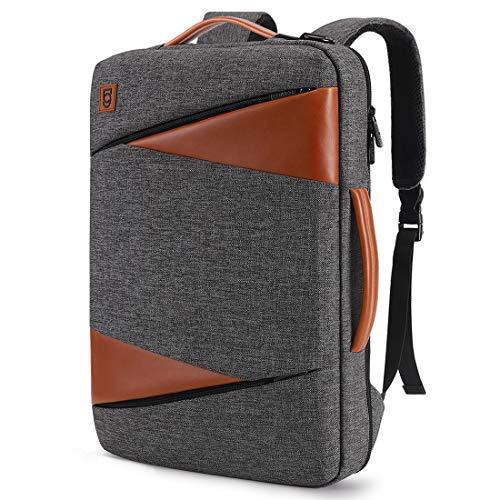 DOMISO Laptop Rucksack 17.3 Zoll Business Aktentasche Reiserucksack Uni Computertasche schlank wasserfeste Umhängetasche Schultertasche mit Gurt Laptoptasche Handtasche für Männer/Frauen, Grau