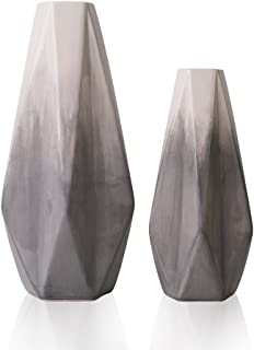 TERESA'S COLLECTIONS Ceramic Flower Vase,Set of 2 Grey and White Modern Geometric Decorative Vases Set for Centerpieces,Kitchen,Office,Wedding or Living Room