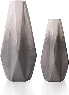TERESA'S COLLECTIONS Vases à Fleurs en Céramique,Ensemble de 2 Vases Décoratifs Géométriques Modernes Fait à la Main Gris ...