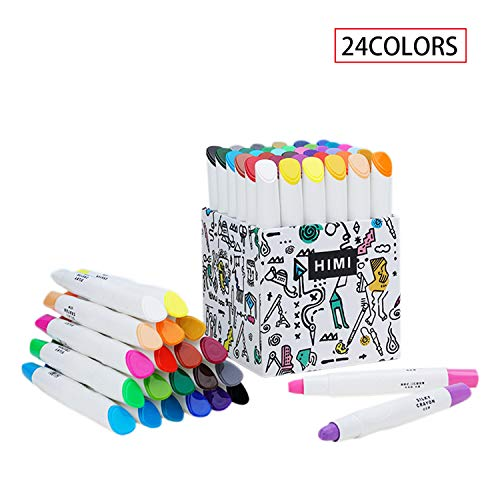 HIMI 24 Pcs Crayons Watercolor Set,Non-Toxic & No Mess Coloring Gel Crayons-Washable,Retractable Color Crayons for Kids Children Coloring, Crayon-Pastel-Watercolor Effect, Ideal for Paper