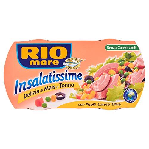 Rio Mare, Insalatissime Delizia di Mais e Tonno Pinne Gialle con Piselli, Carote e Olive, Senza Conservanti, 2 Lattine da 160 g
