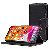 Snugg iPhone 11 Wallet Case – Leather Card Case Wallet with Handy Stand Feature – Legacy Series Flip Phone Case Cover in Blackest Black