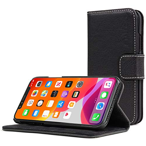 Snugg iPhone Xs (2018) / X (2017) Wallet Case Leather Card Flip Cover Black