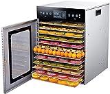 HUAFEIHUA 12 Couches Déshydrateur Alimentaire, Fruits Sèche-Linge, Acier Inoxydable 304, séchage à 360 ° Uniforme, microordinateur Infrarouge Touch Minuterie 24 Heures, réglable 35-90 ° C HU922