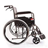 Lightweight Wheelchair ,Transport Folding Chair with Handbrakes ,Adjustable Self-propelled Chair with Bedpan,24 inch
