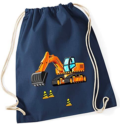 Turnbeutel für Jungen | Motiv Bagger & Baustelle | Stoffbeutel aus Baumwolle zum Zuziehen für Kinder | Zuziehrucksack mit Kordel (dunkelblau)
