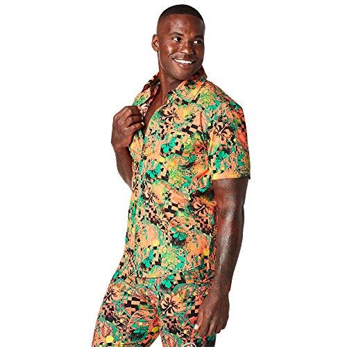 Zumba Fitness® Camiseta de Manga Corta para Hombre con Botones, Hombre, Z2T00302, Zumba Green, Large