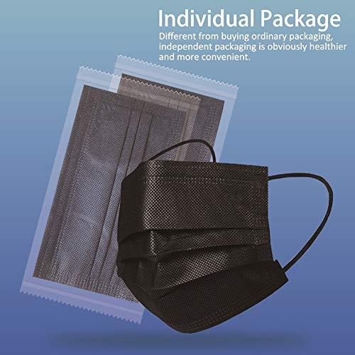 100 Pack Disposable Face Masks with Elastic Ear Loop 3 Ply Individually Package (Black)