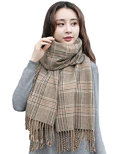 Hottime Femal Merino Lambswool Plaid Scarf - Soft British Cashmere Long Scarf Winter Warm Fringed Shawl Camel Grid