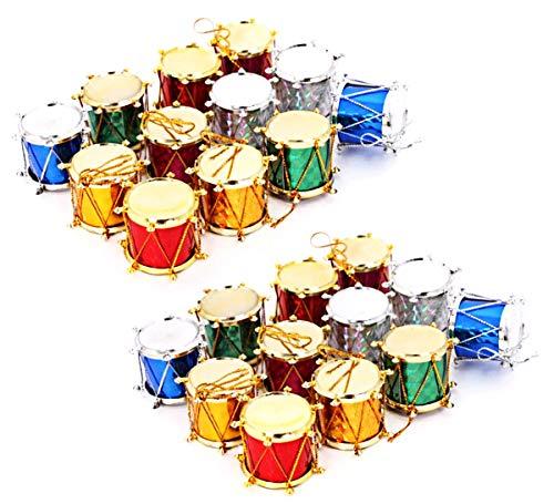 decorazioni albero di Natale tamburi Gliter appeso decorazione albero di Natale colorato mini ornamenti vacanza pendente festa di nozze Décor 24 confezione