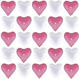 P&S events 50 große Premium Herz Luftballons 25 rosa 25 weiß Ø 30cm Helium geeignet Markenqualität Baby Party