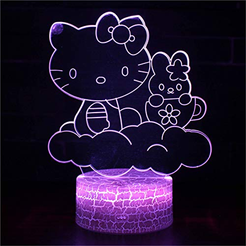 Lámpara de ilusión 3D para niña Navidad Hellokitty C 16 Color cambiante lámpara de escritorio nueva 3D LED luces de noche LED táctil remoto y 16 colores cambiables