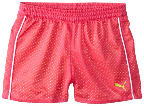 PUMA Big Girls' Active Double Mesh Short, Pink Glo, 16 (X-Large)