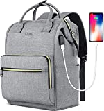 Laptop Backpack for Women, Travel Backpack for 15.6 Inch Laptop with RFID Pocket, USB Charging Port Water Resistant Backpack Purse for Traveling Commuting School Work Business, Grey