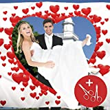 von Rafenstein Hochzeitsherz zum Ausschneiden für das Brautpaar inkl. 2 Nagelscheren. Bedrucktes Hochzeitslaken Hochzeitsspiel für Braut und Bräutigam.