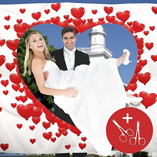 von Rafenstein Hochzeitsherz zum Ausschneiden für das Brautpaar inkl. 2 Nagelscheren. Bedrucktes Bettlaken das Hochzeitsspiel für Braut und Bräutigam. Hochzeitslaken zum Ausschneiden Laken Hochzeit