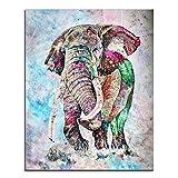 nobrand Acuarela Abstracta Elefantes Animales Carteles e Impresiones Lienzo Pintura Arte de la Pared Imágenes para la decoración de la Sala de Estar 70x90cm Sin Marco