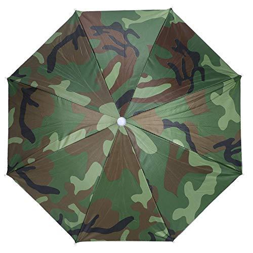 LANTRO JS - Paraguas para la cabeza de 66 cm, sombrilla montada en la cabeza para pesca, playa, golf, verde militar, sombreros sin manos, sombra, jardinería, fotografía, sombrero para caminar (camufla