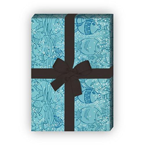 Kartenkaufrausch Unter Wasser/Aquariums Geschenkpapier Set mit Fischen für tolle Geschenk Verpackung, Designpapier, scrapbooking, 4 Bogen, 32 x 48cm, auf blau
