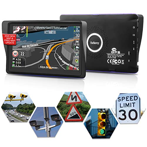 Sat nav, Sat navs for cars uk, 7' Sat nav, 2020 Full Europe and UK Ireland Map, Lifetime Free Map Update, Car Truck Sat nav with Voice Navigation, POI & Postcode search, Speed Camera Alerts