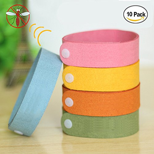 Scentpellent Mosquito Bracelets 10pcs, 100% All Natural Plant-Based Oil Mosquito Bands, Travel Insect Bracelet, Soft Material for Kids & Adults, Keeps Insects & Bugs Away (Five Color)