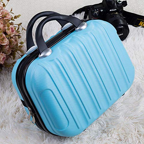 TTZY Fashion 17 Inch Caster Small Suitcase Ladies 14 Inch Mini Children Boarding Chassis Trolley Case Password Suitcase Cosmetic Box,Light Blue