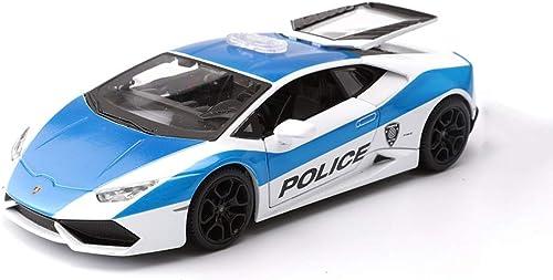 Lingling Sportwagen Druckgusslegierung Modell 1 24 Verh nis Modell Lamborghini Huracan LP610 Polizeiauto Modell Kinder Spielzeug Simulation Dekoration (Farbe   Blau)