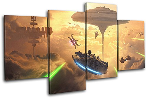 Bold Bloc Design - Star Wars Battlefront 2 Bespin Gaming 120x68cm Multi Canvas Art Print Box Framed Picture Wall Hanging - Hand Made in The UK - Framed and Ready to Hang
