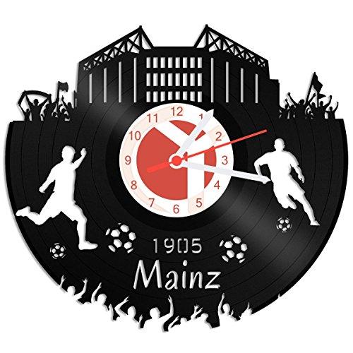 GRAVURZEILE Schallplattenuhr Mainz - 100% Vereinsliebe - Upcycling Design Wanduhr aus Vinyl Made in Germany
