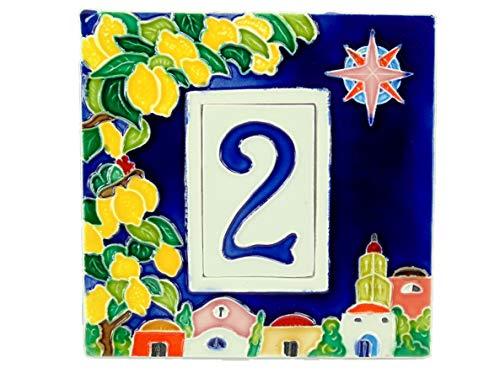 fd-bolletta arredamento e illuminazione Numeri civici in Ceramica con Numero da collocare nell'apposita Cornice,Targa con civico,mattonella a 1 Posto da Esterno Colorata a Mano