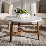 Walker Edison Mid Century Modern Round Coffee Table Living Room Accent Ottoman Storage Shelf, 30 Inch, Marble and Acorn