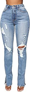 Womens Skinny Ripped Jeans Stretch Distressed Destroyed...