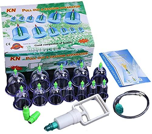 SDFOOWESD ventosas Celulitis ventosas para Masaje ventosas Fisioterapia Juego de ventosas al vacío de 12 Tazas, Juegos de Terapia de ventosas Chinas biomagnéticas Profesionales con Bomba de vacío p