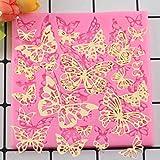 CSCZL DIY Forma de Mariposa de Silicona Estera de Encaje Cupcake Fondant moldes Gumpaste Chocolate moldes Sugarcraft decoración de Pasteles Herramientas para Hornear