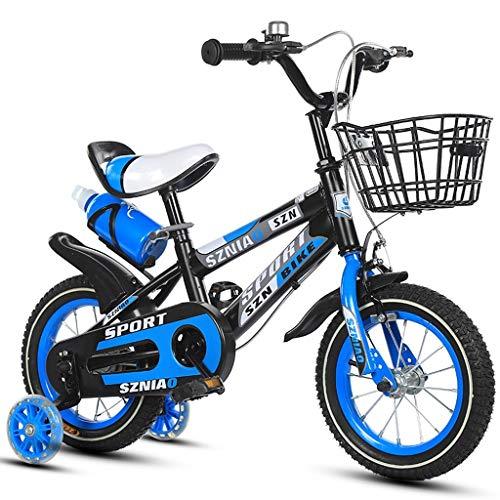 Chenbz Bicicletas de los niños del Marco de 16 Pulgadas Macho y la Bicicleta Mujer Cochecito de 4-7 años del niño Acero de Alto Carbono, Naranja/Azul/Rojo de la Bicicleta de los niños (Color: Azul