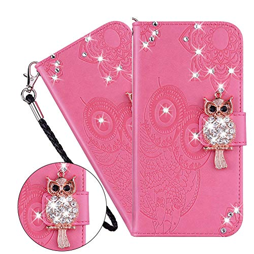 LEMAXELERS iPhone 6S Plus / 6 Plus Custodia Cover Portafoglio,iPhone 6S Plus Custodia Fiore di Mandala Rilievo Wallet Shock-Absorption Magnetica Supporto Protettiva Leather Flip Cover,YK Owl Pink