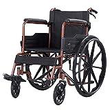 Y-L Tragbarer Rollstuhl aus Kohlenstoffstahl, Leicht, mit Handbremsen-Reisestuhl, für Ältere Menschen und Behinderte/Gelb / 94 X 67 X 88 cm, Braun, 94 x 67 x 88 cm -