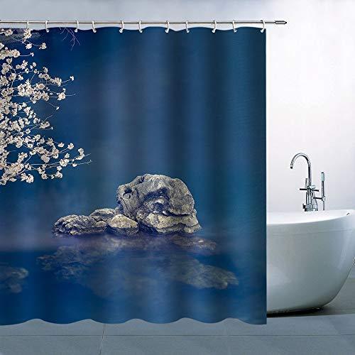 N\A Flor Cortina de Ducha Decoración Agua Gris Roca Flores Blancas Fondo Azul Poliéster Impermeable