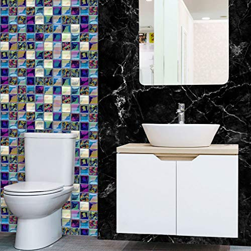 18 stück Mosaik Fliesenaufkleber Selbstklebende Klebefolie 3D Fliesen Sticker Aufkleber Klebefliesen Fliesendekor Fliesenfolie Bordüre Mosaikfliesen Wasserdicht Küche Badezimmer (E)
