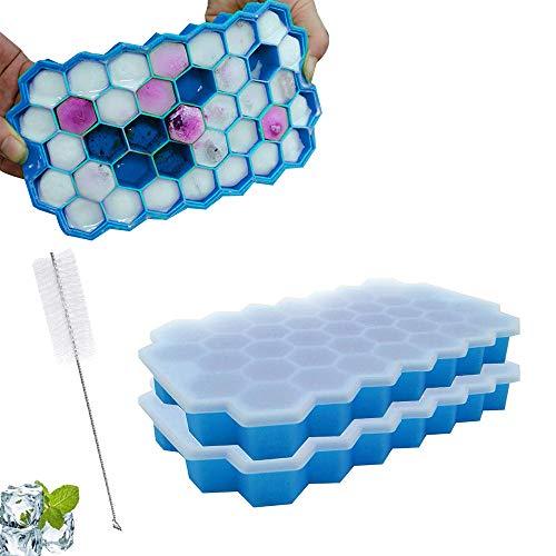LIANWANG Cubitera de silicona, 2 paquetes de cubitos de hielo, molde de silicona con tapa y cepillo de limpieza para familia, fiestas y bares