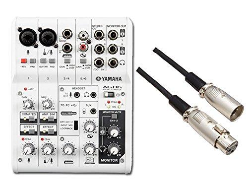 【ケーブル付】YAMAHA 6チャンネルミキサー AG06 + audio-technica ATL458A/3.0