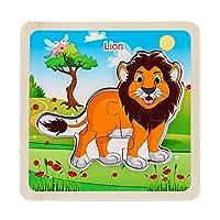 子供のためのパズルジグソーパズル教育学習おもちゃ3D木製の子供認知ジグソーパズルボード赤ちゃん教育おもちゃ(ライオン)