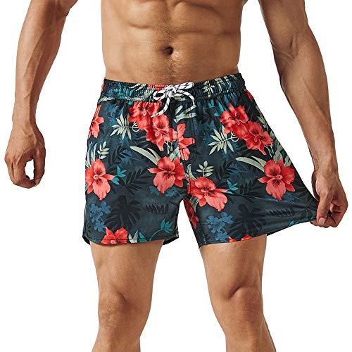 MaaMgic Mens Floral Swim Trunks 4 Way Stretch Boardshorts Quick Dry Swimwear with Mesh Lining/Pockets